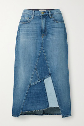 Frame Le Midi Patchwork Denim Midi Skirt - Light denim