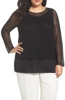Eileen Fisher Plus Size Women's Organic Linen Tiered Sweater