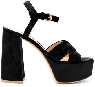 Gianvito Rossi Crossover-front 70 Platform Suede Sandals - Black