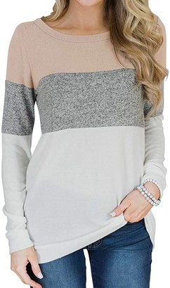 Women's Long Sleeve Color Block Cute Shirt Round Neck Casual Tops