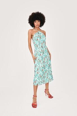Nasty Gal Womens Halter Neck Abstract Print Midi Slip Dress - Green - 8