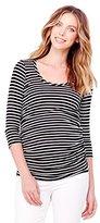 Ingrid & Isabel Women's Maternity Stripe 3/4 Sleeve Shirred Top