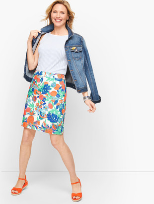 Talbots Canvas Cotton A-Line Skirt - Fruits & Flowers
