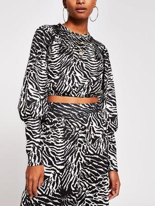 River Island Cropped Blouson Sleeve Jersey Top - Animal Print