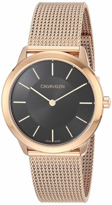 Calvin Klein Midsize Minimal Unisex Rose Gold PVD Mesh Bracelet with Black Dial Watch (Model: K3M2262Y)