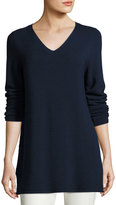 Eileen Fisher Long-Sleeve Textured V-Neck Tunic, Midnight