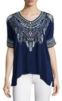 Johnny Was Xander Short-Sleeve Embroidered Poncho Top, Petite