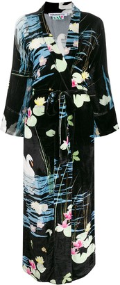 BERNADETTE Swan Print Velvet Wrap Dress