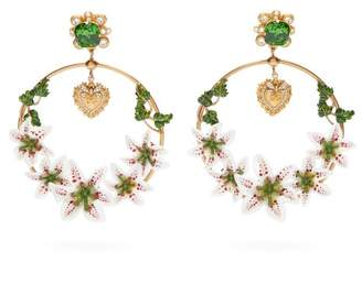 Dolce & Gabbana Lily & Crystal Hoop Clip Earrings - Womens - Gold