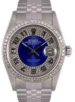 Rolex Datejust Stainless Steel Blue Diamond Bulls Eye Tuxedo Dial & Bezel 36mm Mens Watch