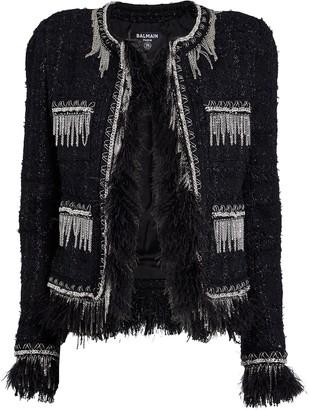 Balmain Feather-Trimmed Tweed Jacket