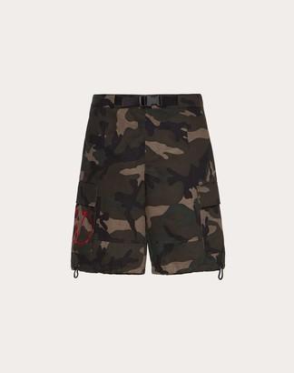 Valentino Camouflage Cotton Bermuda Shorts Man Red 100% Cotone 44