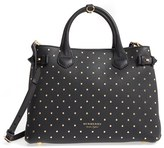 Burberry Medium Banner Studded Leather Satchel - Black