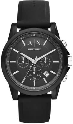 Armani Exchange Unisex Chronograph Black Silicone Strap Watch 44mm AX1326