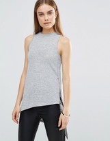AX Paris High Neck Asymmetric Knitted Sleeveless Top
