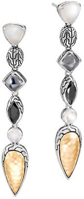 John Hardy Classic Chain Cluster Drop Earrings w/ 18k Gold