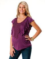 Motherhood Short Sleeve Scoop Neck Ruffled Maternity T Shirt