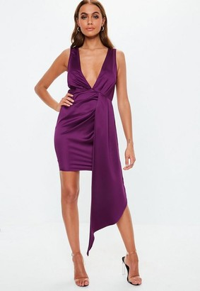 Missguided Purple Satin Plunge Drape Bodycon Mini Dress