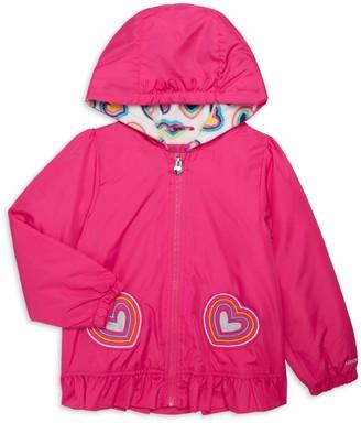 London Fog Little Girl's Heart Founce-Hem Raincoat