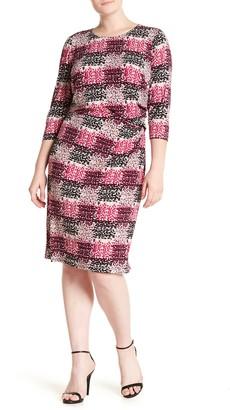 Brinker & Eliza Print Jersey Side Tuck Sheath Dress (Plus Size)