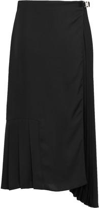 Prada Asymmetric Pleated Twill Midi Skirt