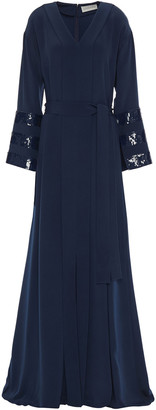 Sachin + Babi Sequin-embellished Belted Silk-crepe Gown