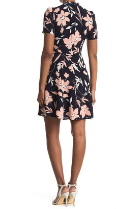 Maggy London Floral Tie Neck Fit & Flare Dress