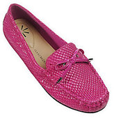 As Is Isaac Mizrahi Live! Python Embossed Leather Moccasins