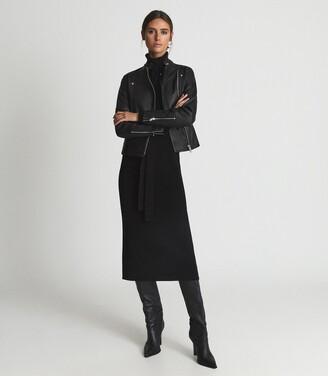 Reiss Tallis - Leather Biker Jacket in Black