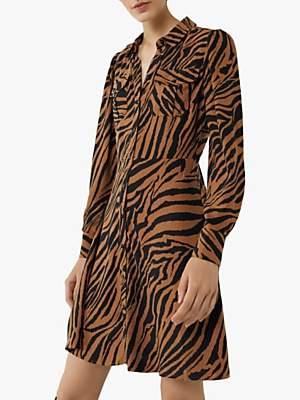 Warehouse Tiger Print Shirt Dress