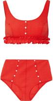 Lisa Marie Fernandez Colby Ruffle-trimmed Seersucker Bikini - Red