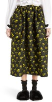 Simone Rocha Women's Smocked Waist Floral Jacquard Skirt