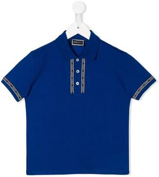 Versace logo embroidered polo shirt