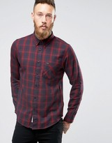 Lee Buttondown Brushed Check Shirt Maroon