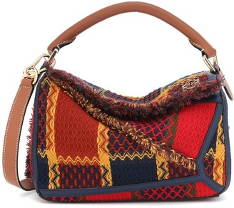Loewe Puzzle Small leather-trimmed tartan bag