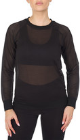 Bsp BSP Women's Pullover Sweaters Black - Black Mesh Crewneck Top - Women