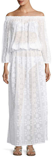 Melissa Odabash Olivia Off-the-Shoulder Lace Maxi Dress, One Size