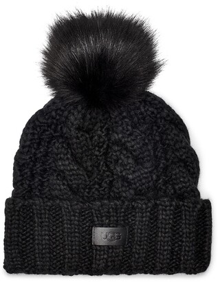 UGG Cable Knit Beanie with Faux Fur Pom