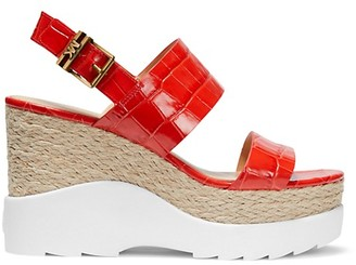 MICHAEL Michael Kors Rhett Croc-Embossed Leather Platform Sandals
