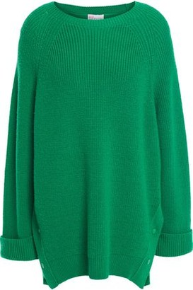 RED Valentino Snap-detailed Ribbed Wool Sweater