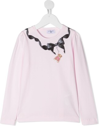 MonnaLisa bow-print long sleeved T-shirt