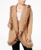 Alfani Plus Size Faux-Fur-Trim Cardigan, Only at Macy's