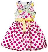 Love made Love Fushcia Polkadot and Floral Print Dress