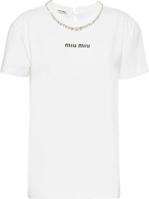 Miu Miu embroidered crystal neck T-shirt