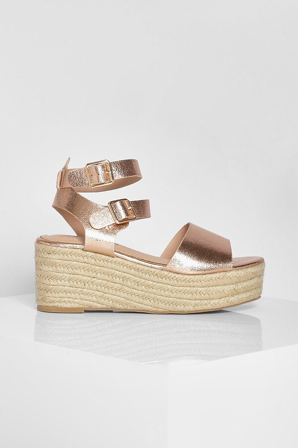 Thumbnail for your product : boohoo Double Buckle Wedge