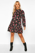 boohoo Plus Floral Rose High Neck Smock Dress