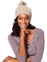 New York & Co. Lurex Cable-Knit Pom-Pom Hat