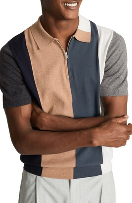 Reiss Strokes Colorblock Wool & Cotton Polo Shirt