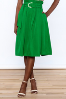 Jealous Tomato Green Pleated Knee Skirt