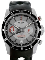 Tudor 20550N Grantour Grey Dial Black Leather Strap Steel Watch